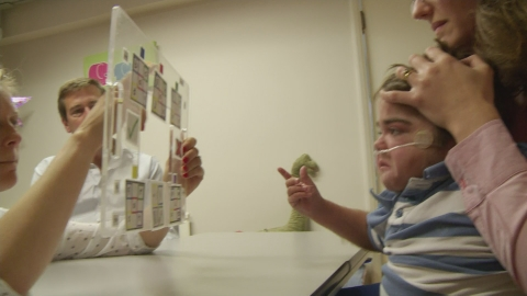 Boy with locked-in syndrome communicates with his eyes