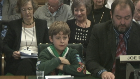 Nine-year-old boy challenges MPs over HS2 in Parliament
