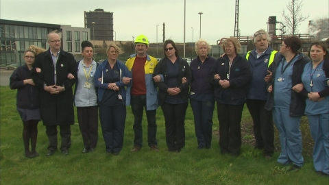 Nurses in Port Talbot show solidarity with steel workers and the local community