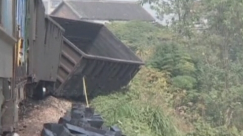A cargo train has derailed in China