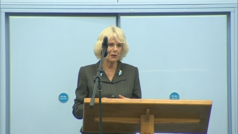 Duchess of Cornwall opens new pitch at brother's school