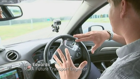 Driverless car takes a spin around a track in Nuneaton