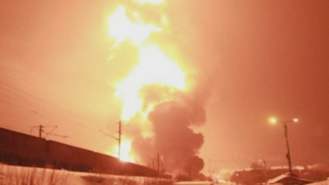 Spectacular footage of massive rail fire in Russia