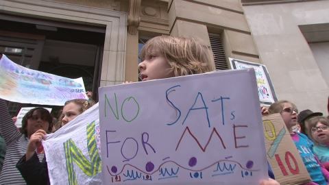Kids join the picket line over primary school tests