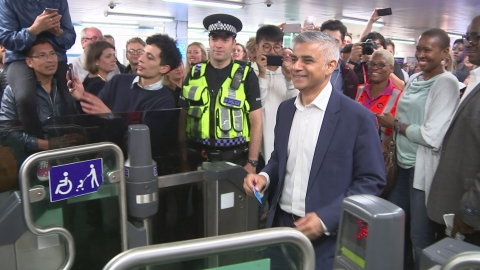 Mayor of London Sadiq Khan rides the first Night Tube